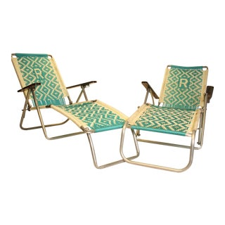 Mid-Century Modern Aluminum Folding Chaise Lounge Chairs - Pair