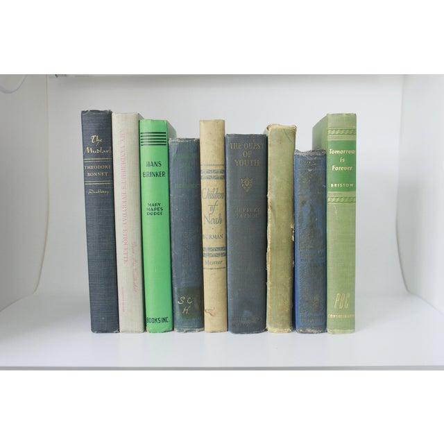 Vintage Decorative Green and Blue Books - Set of 9 - Image 3 of 11
