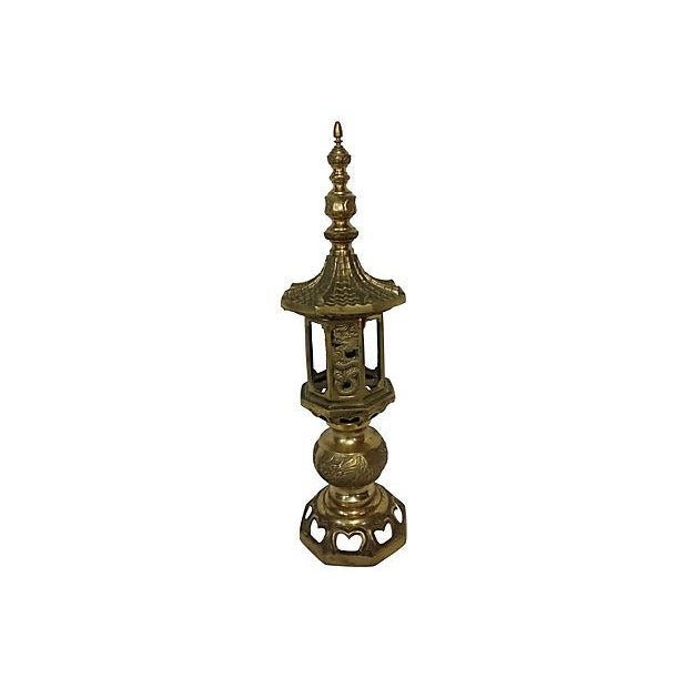 Vintage Pagoda Brass Table Lamps - A Pair - Image 3 of 5