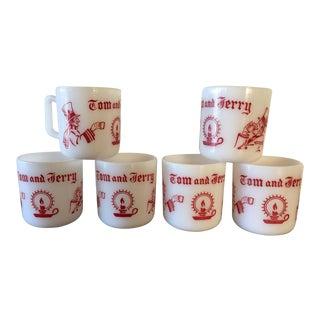 Vintage Milk Glass Tom & Jerry Mugs- Set of 6