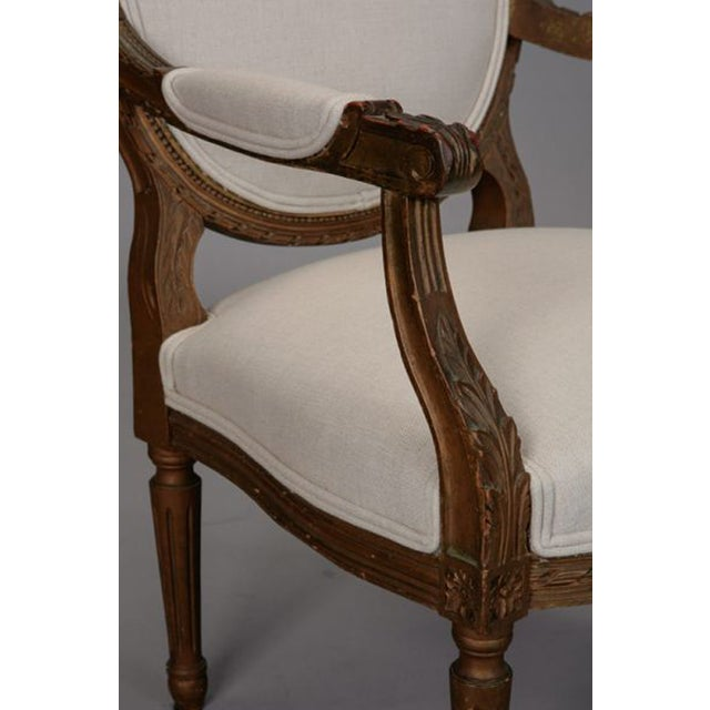 Louis XVI Oval Back Gilded Fauteuils - A Pair - Image 6 of 9