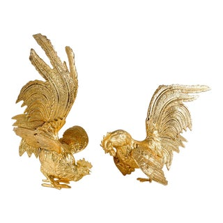 English Brass Fighting Roosters - A Pair