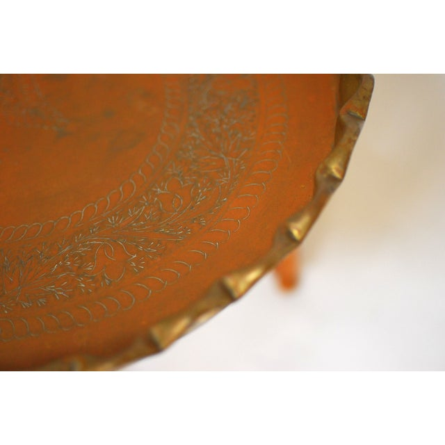 Image of Oval Moroccan Brass Tray Table