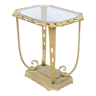Gold and Glass Hollywood Regency Side Table, 1930 USA