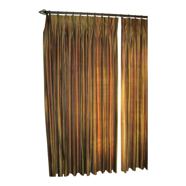 Striped Silk Drapery Panels - Image 4 of 4