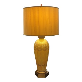 Murano Glass Table Lamp & Silk Shade