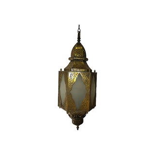 Moroccan Opaque Glass & Brass Pendant Light
