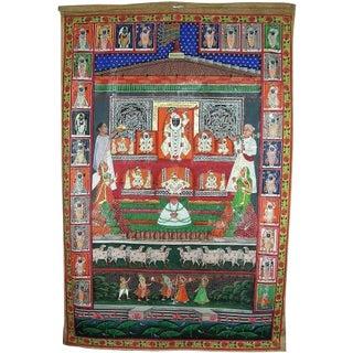 Antique Hindu Fabric Calendar/Almanac
