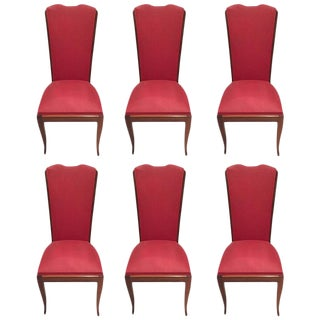 Leleu Style French Art Deco Walnut Dining Chairs - Set of 6