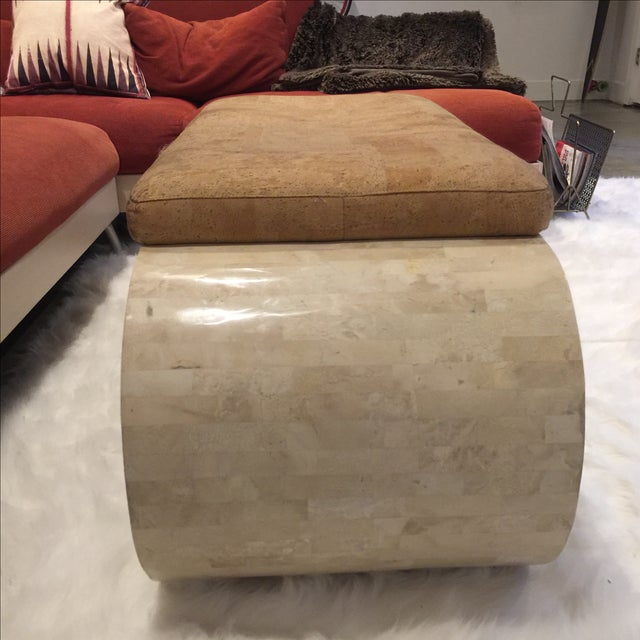 Karl Springer-Style Marble & Faux Cork Bench - Image 5 of 6