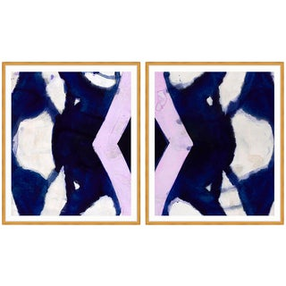 Zoe Bios Creative Navy Blue Purple Abstract Framed Prints Diptych – a Pair