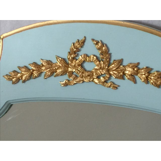 Hollywood Regency Mint Turquoise Gilt Mirrors-Pair - Image 3 of 5
