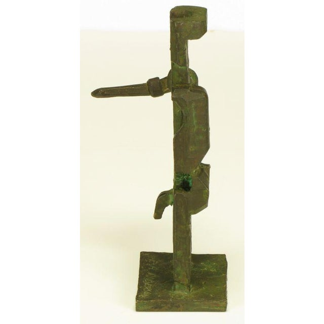 Image of Pair Bronze Male & Female Abstract Sculptures, Signed.