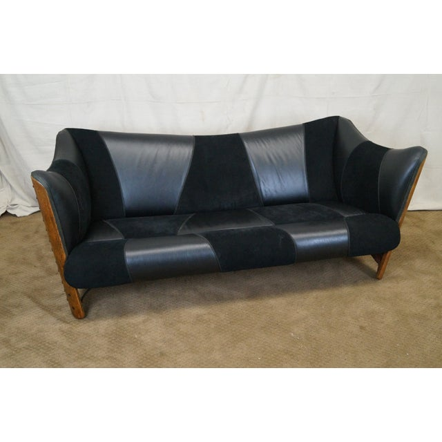 Vintage Brazilian Walnut & Black Leather Wing Sofa - Image 2 of 10