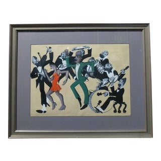Lucille Miller -African American Dancing Jazz-1930 - Painting Guache on Paper