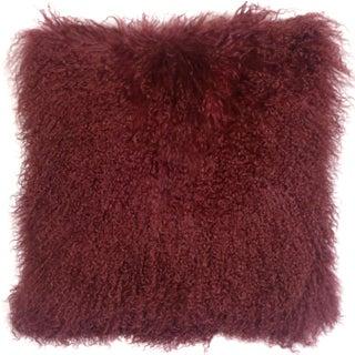 Mongolian Sheepskin Maroon Throw Pillow