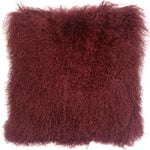 Image of Mongolian Sheepskin Maroon Throw Pillow