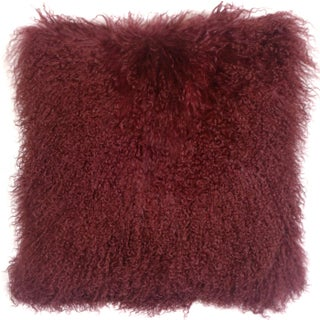 Mongolian Sheepskin Maroon Throw Pillow