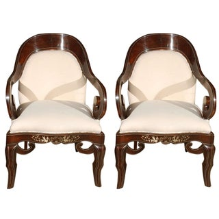 Pair of 19th Century Steel Inlaid Armchairs