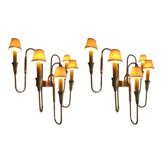 French Empire Style Bronze Candelabra Sconces - a Pair