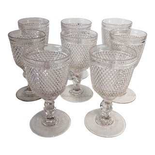 Vintage American Saw-Tooth Pattern Glass Goblets - Set of 8