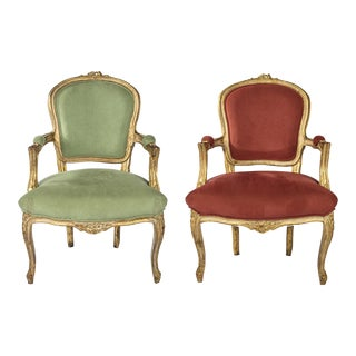 Louis XV Open Armchairs - A Pair