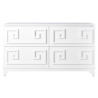 Worlds Away White Lacquer Greek Key 4-Drawer Dresser