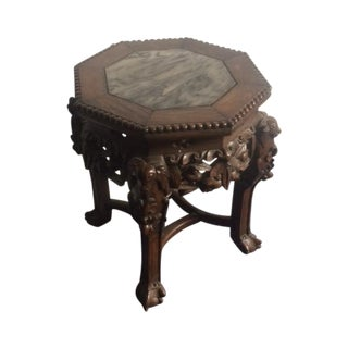 Antique Carved Asian Side Table