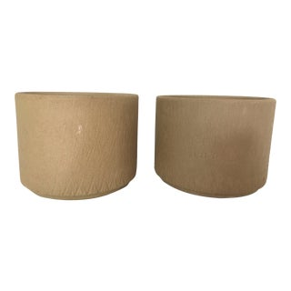 Gainey Ceramics Unglazed Incised Sgraffito Planters - A Pair
