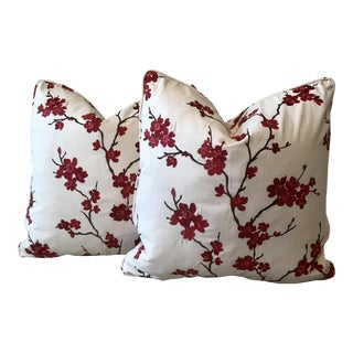 Red Cherry Blossom Pillows - A Pair