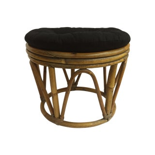 Vintage Bamboo and Rattan Stool
