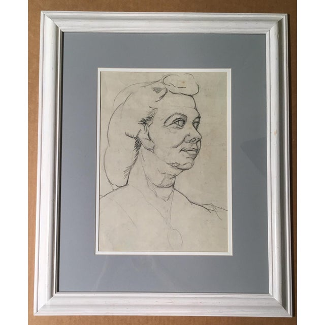 Mid-Century Charcoal & Pencil Woman Sketch - Image 2 of 3