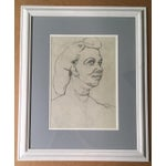 Image of Mid-Century Charcoal & Pencil Woman Sketch