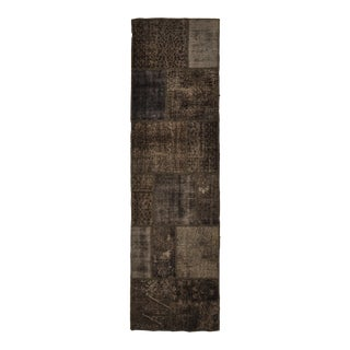 Turkish Over-Dyed Distressed Patchwork Runner Rug - 2'9 X 10'