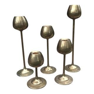 Mid-Century Brass Tulip Candlesticks - Set of 5