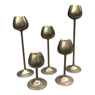 Mid-Century Brass Tulip Candlesticks - Set of 5