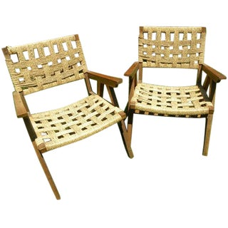 Mid-Century Teak and Rope Chairs - A Pair