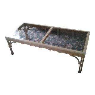 Transitional Wood & Glass Coffee Table