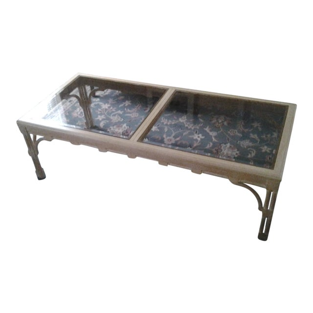 Transitional Wood & Glass Coffee Table - Image 1 of 7