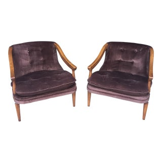 Brown Regency Club Chairs - A Pair