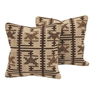 Cream Turkish Kilim Cushions - A Pair