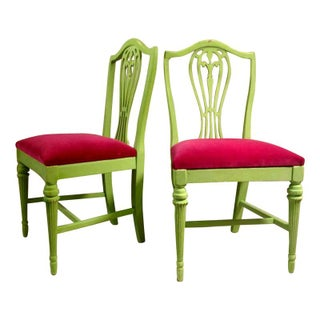Hepplewhite Style Chairs in Pink & Green