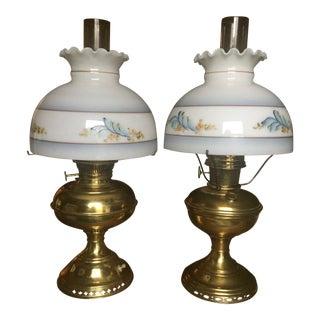 Antique Floral Painted Oil Lamps - A Pair