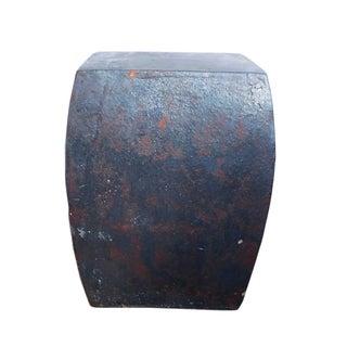 Chinese Rustic Black Ceramic Clay Square Stool