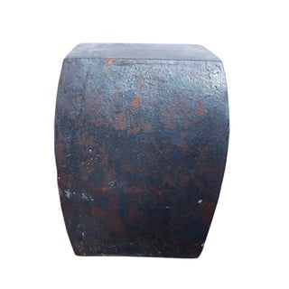 Chinese Rustic Black Ceramic Clay Square Stool