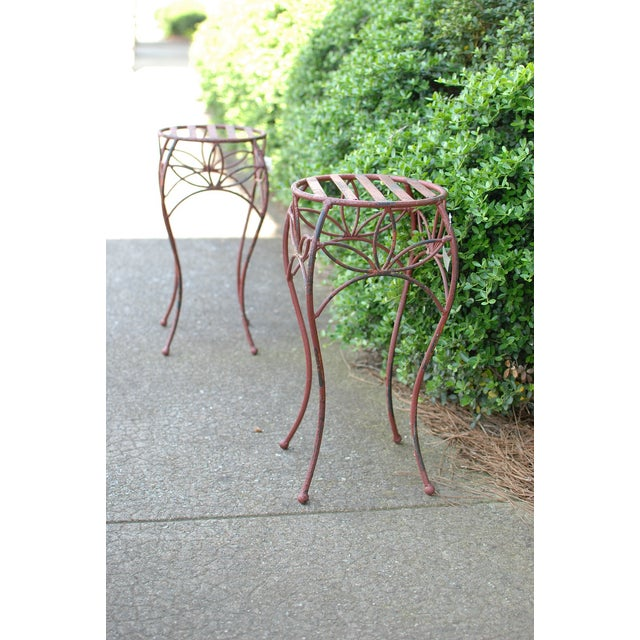 Antique Red Metal Planter Stand - Image 3 of 4