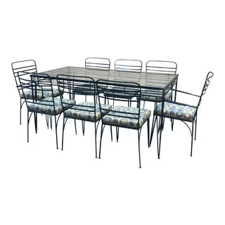 Vintage Modernist Iron Dining Patio Set - Set of 8
