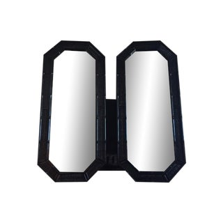Faux Bamboo Mirrors in Black - A Pair