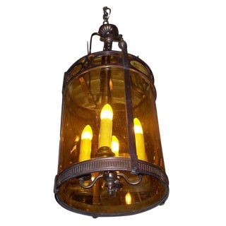 Regency Style Lantern With Old Glass