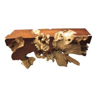 Neoprimitive Style Teak Wood Console